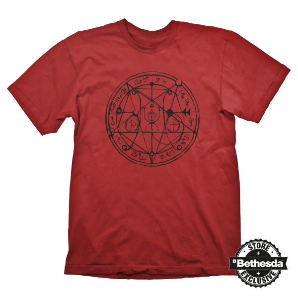 DOOM T-SHIRT PENTAGRAM BLACK ON RED