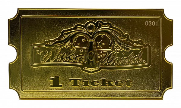 "Fallout Replica ""Nuka-World"" Gold-Plated Ticket, 24 Karat"