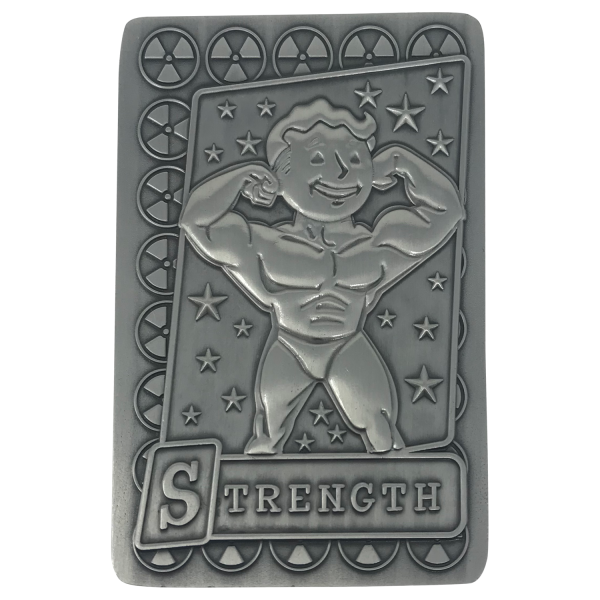 FALLOUT COLLECTIBLE METAL PERK CARD STRENGTH