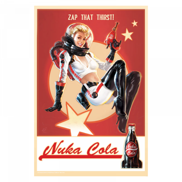 FALLOUT 4 METAL SIGN NUKA COLA PIN-UP VINTAGE