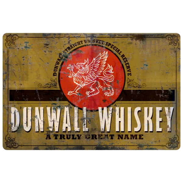 DISHONORED 2 METAL SIGN DUNWALL WHISKY VINTAGE