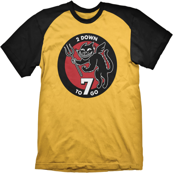 T-shirt Raglan jaune Wolfenstein 2 - 7 To Go